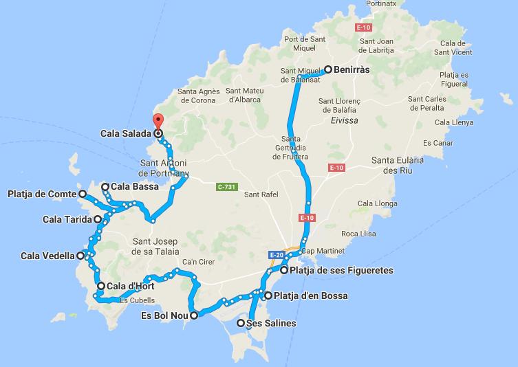 Mapa das melhores praias em Ibiza