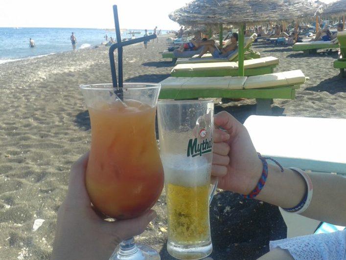 Perissa Beach Santorini Grécia