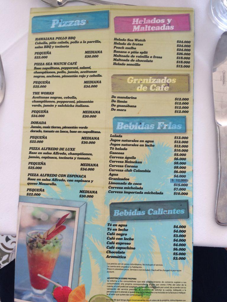 Onde comer em San Andrés cardápio Casablanca