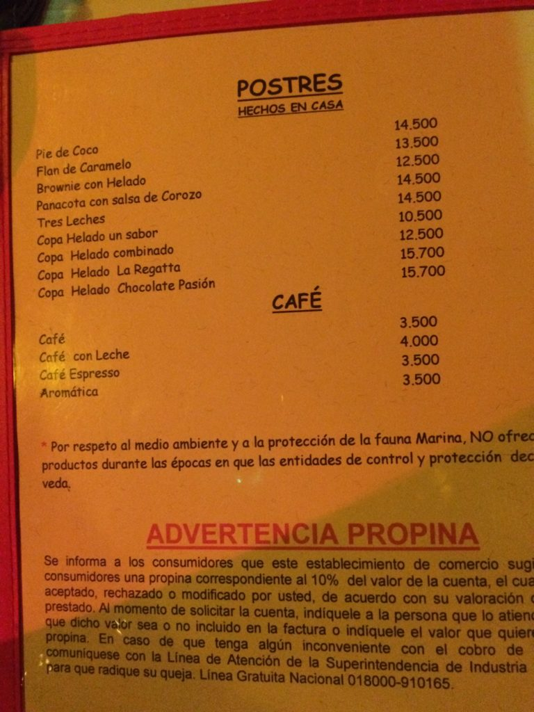 Onde comer em San Andrés cardápio La Regatta