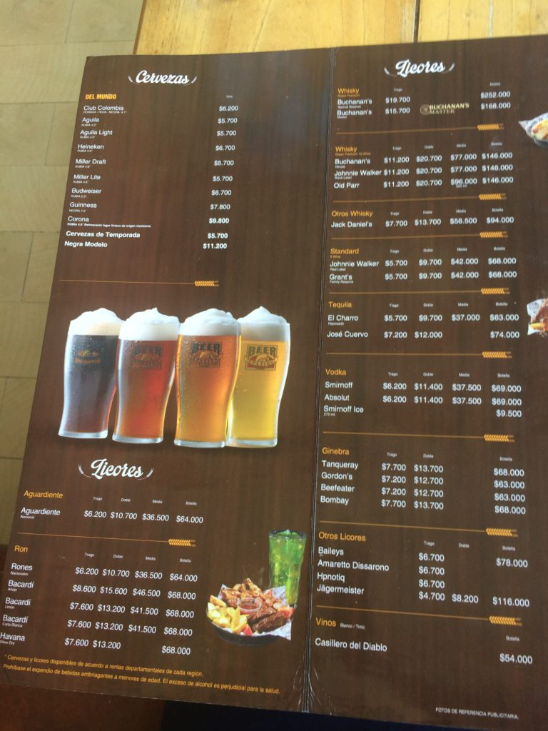 Onde comer em San Andrés cardápio Beer Sation